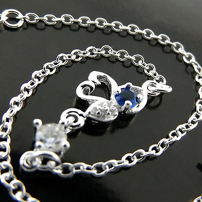 Fsa552 Genuine Real 925 Sterling Silver Sf Simulated Diamond Sapphire Anklet