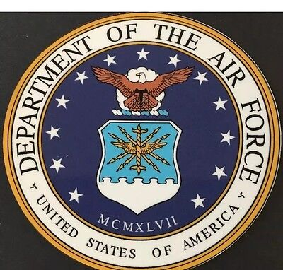 """Set Of 2 4"""" Round Military USAF AIR FORCE Insignia Sticker Decals"""