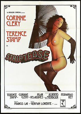 Striptease Manifesto Cinema Film Erotico Corinne Clery Sexy 1977 Movie Poster 2F