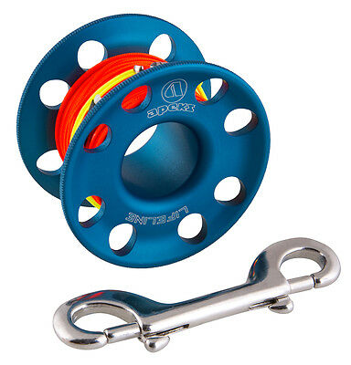 Apeks 45 Metre Line Dive Spool with Stainless Steel Double Snap Bolt-Blue