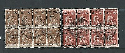 1912 Portuguese Colonies Cabo Verde Two Vfu Blocks Of Eight