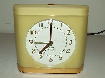 "Vintage Working Westclox Big Ben ""Twilight"" Yellow Deco Illuminated Alarm Clock"