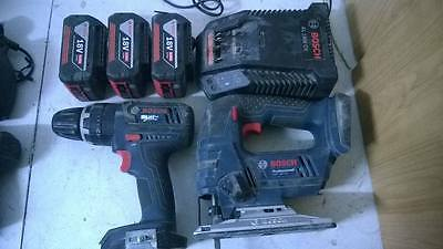 BOSCH 18v Cordless Combi Drill,and jig saw charger and three bats