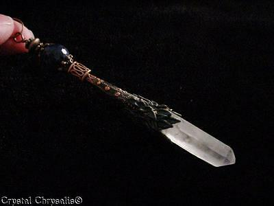 Enchanting Lapis Lazuli Antique Copper Natural Clear Crystal Pendant Pendulum