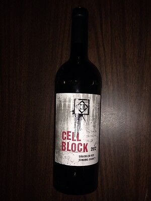 Cell Block 2012 Shackled Red Sonoma County Empty Wine Bottle. Free Shipping.