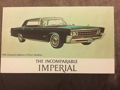 1966 Imperial Lebaron Four-Door Hardtop The Incomparable Imperial Postcard