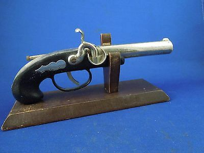 Vintage Gun Antique Pistol Shaped Cigarette Table Lighter Tobacciana with Stand