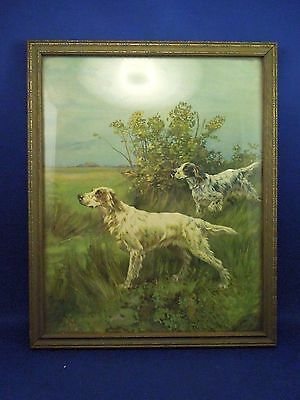 Vintage Framed Thomas Blinks Print of Painting Hunting Dogs English Setter Field
