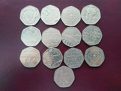 Job lot 13 collectable UK 50p  coins