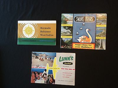 Three Vintage Travel Brochures Bermuda, Swans, Lunns