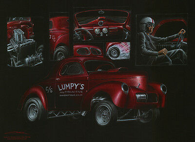 Poster - Gasser Collage  - Willy's -  Hot Rod  - Original - Lumpys