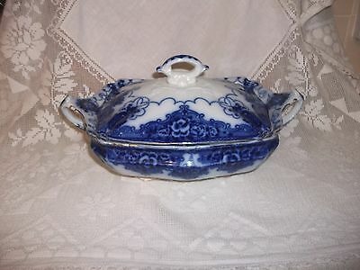 Vintage Early Flow Blue Tureen With Lid