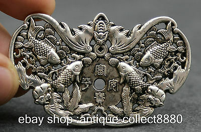 Chinese Miao Silver Hand Engraving Exquisite Fish Without Mishap Wealth Amulet L