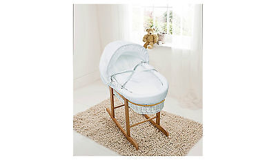 Kinder Valley White Waffle Wicker Moses Basket with Bow detail