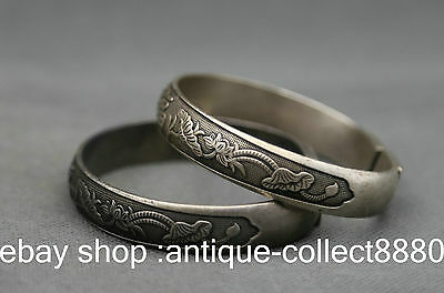 Chinese Miao Silver Handmade Exquisite FU Lotus Flower Duad Bracelets (adjust) L