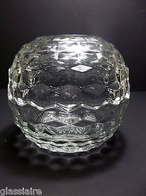Vintage CRYSTAL CLEAR Glass FAIRY LAMP Glimmer Light ROUND 5""