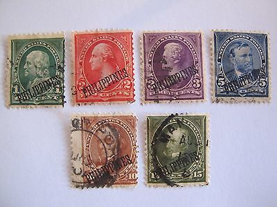 lot 6 timbres anciens US postage 1899 1901 Philippines