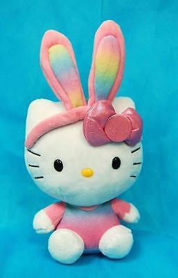 "2014 Ty 8"" Hello Kitty (Pink) Easter Rainbow Plush Beanie"