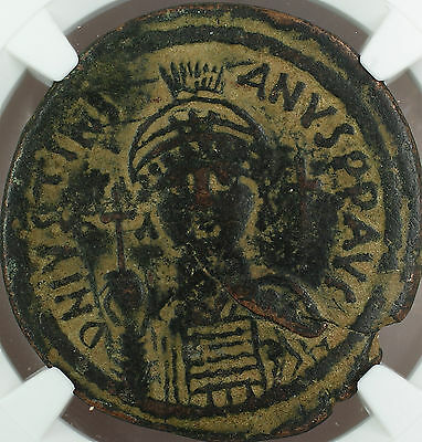 Justinian I 527-565 AD Bronze Follis-40 Nummi Byzantine Empire, NGC F Ancient