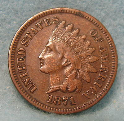 1871 Indian Head Penny VF * US Coin #431