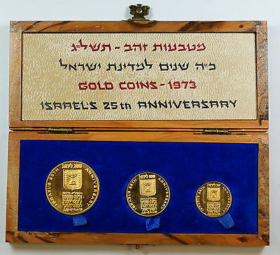 1973 Israel Proof Gold 3 Coin Set 200 / 100 / 50 Lirot 25th Anniversary
