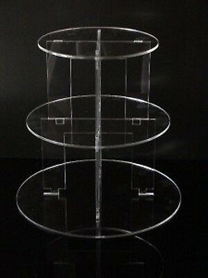 TK 3 Tier Round Clear Acrylic Cupcake Party Wedding Cake Display Tower Stand
