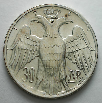 1964 Greece 30 Drachmai Silver Coin   Constantine and Anne-Marie BU