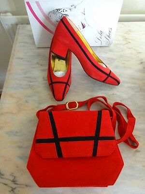 Vintage Red Shoes and Handbag to Match, Size 4, 4.5, Red/Black Suede, Spanish