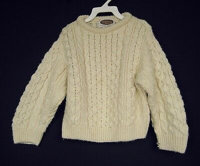 """Kid's Unisex Sweaters Of Ireland 100% Wool Ivory Cable Knit Pullover Sweater 30"""""""
