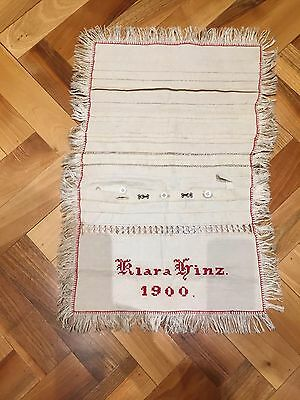 Antique Victorian Sewing Embroidery Sampler Dated 1900