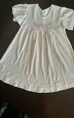 Vintage Infant Baby Girl Embroidered Floral Soft and Silky Nylon Dress 0-3 mth