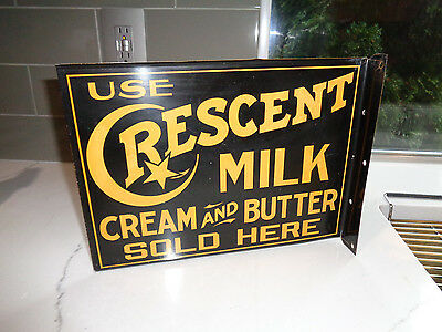 Early Crescent Milk Cream Butter Sold Here Tin Flange Sign