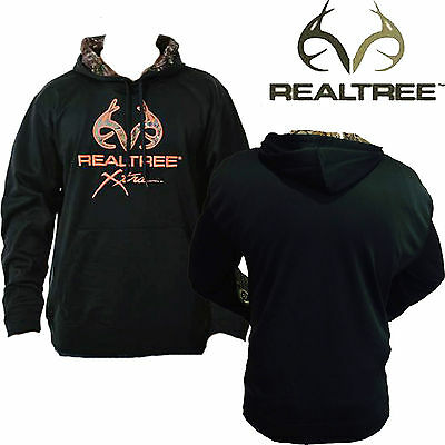 Men's REALTREE Xtra Hunting Fishing Camping Black Performance Pullover Hoodie