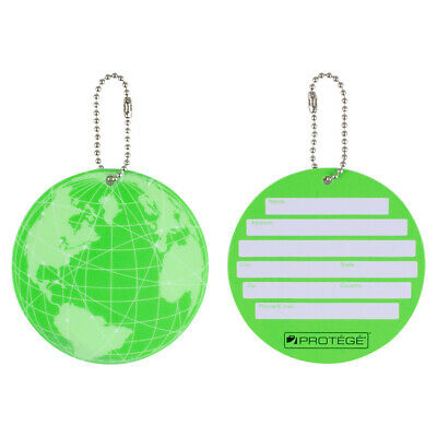 Protege Neon Round EZ ID Travel Baggage Suitcase Luggage Tags - 2 Pack - Green