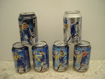 Pepsi Cyprus Cans-Complete Set- 6 Football Players.