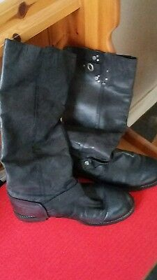 ladies black leather boots size 5