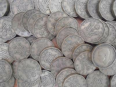 Great Britain George VI 50 x Brass Threepence Coins Mixed Dates