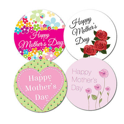 Happy Mothers Day Stickers - 4 designs - crafts, cards, shops - 36 in pack,60mm