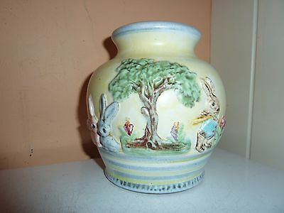 Mid 20Th Century Denby Pottery 14Cmhigh Lampbase With 3 Rabbits/flower/tree Deco