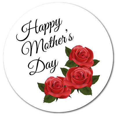 Happy Mother's Day Stickers - 60mm - Roses - crafts, cards, shops - 36 in pack