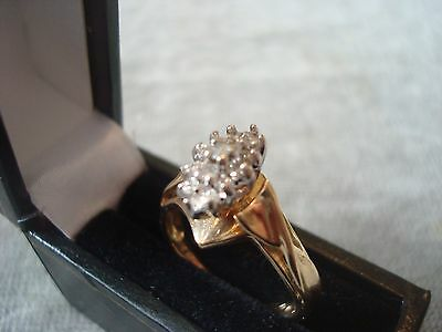 LADIES 10CT YELLOW GOLD DIAMOND RING 3.3g SIZE M BOXED REF 7044