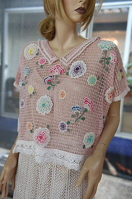 BRAND NEW GORGEOUS 100% COTTON HAND CROCHET TOP ONE SIZE Carnation Flower