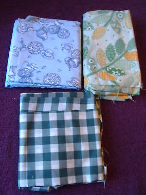 Lot of 3 Fabric Pieces for Quilting or Crafts