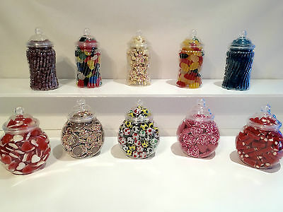 10 Victorian Retro Plastic Sweet Jars Ideal for Sweet Candy Buffet Wedding Party