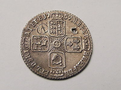 Engraved Love Token , George Ii Sixpence 1757 With  ''d'' Initial ,  Silver