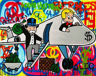Alec Monopoly Oil Painting on Canvas Urban art wall decor color Airplane 28x36""
