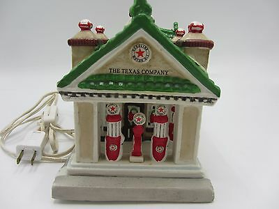 The Texas Company Gasoline Motor Oil Gas Lighted Texaco Service Station Ceramic