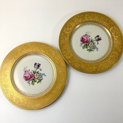 """2 Vintage Heinrich gold encrusted plates or chargers 11"""" roses and tulips"""