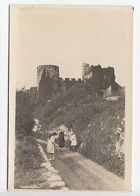 Wales Manorbier Young Ladies in Country Lane near Castle Real Photo Postcard