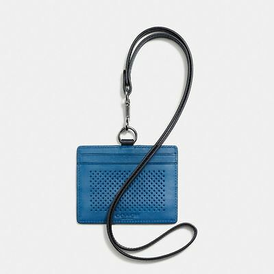 NEW Coach F65209 Men's ID Lanyard In Perforated Leather Holder Case Blue